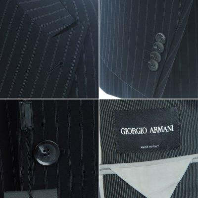 画像1: ジョルジオアルマーニ黒ラベル「紺色ストライプ」ジャケット(54/56)A/W