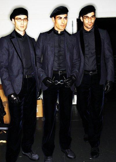 画像1: ジョルジオアルマーニ「黒ラベル」デニムxベルベットシャツ(39/40)