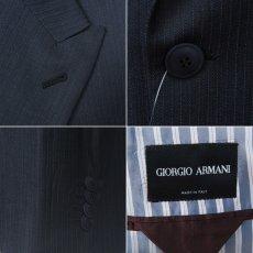 画像4: ジョルジオアルマーニ黒ラベル「ネイビーストライプ」ジャケット(56)A/W 紺色 《《SALE》》 (4)