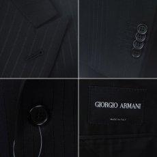 画像4: ジョルジオアルマーニ黒ラベル「紺色ストライプ」ジャケット(54/56)A/W (4)