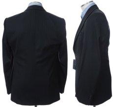 画像2: ジョルジオアルマーニ黒ラベル「紺色ストライプ」ジャケット(54/56)A/W 《《SALE》》 (2)