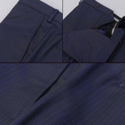 画像2: ジョルジオアルマーニ黒ラベル「TRADERモデル」紺色ストライプスーツ(58)S/S