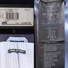 画像5: ジョルジオアルマーニ黒ラベル「TRADERモデル」紺色ストライプスーツ(58)S/S (5)