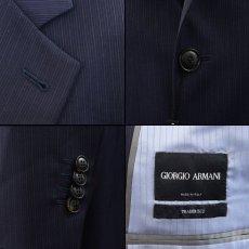 画像4: ジョルジオアルマーニ黒ラベル「TRADERモデル」紺色ストライプスーツ(58)S/S (4)