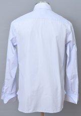 画像2: ジョルジオアルマーニ黒ラベル シャツ ストライプコットン製 (37/42) LUXURYライン カフス用 ライトブルー 青 (2)