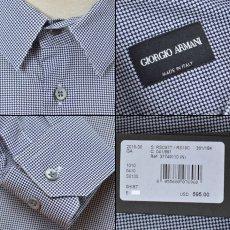 画像3: ジョルジオアルマーニ 黒ラベル コットン製 白x紺 シャツ(43/47) 大きいサイズ 「メタル製カラーキーパー付」 (3)