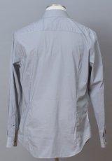画像2: ジョルジオアルマーニ 黒ラベル コットン製 白x紺 シャツ(43/47) 大きいサイズ 「メタル製カラーキーパー付」 (2)