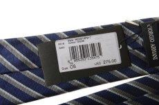 画像3: ジョルジオアルマーニ黒ラベル ネクタイ    紺色マルチストライプ (3)