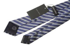 画像2: ジョルジオアルマーニ黒ラベル ネクタイ    紺色マルチストライプ (2)