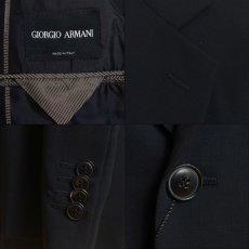 画像7: ジョルジオアルマーニ黒ラベル「ウール100%」定番ネイビースーツ(56L)S/S 濃紺無地 (7)