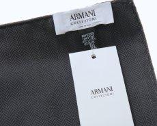 画像3: アルマーニコレツィオーニ ポケットチーフ  シルク製 「ヘリンボーン柄」 グレー (3)