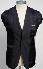 画像5: ジョルジオアルマーニ黒ラベル ウール 「SOHOモデル」濃紺無地スーツ(48)A/W (5)