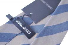画像3: ジョルジオアルマーニ黒ラベル ネクタイ  ブロックストライプ ゴールドxグレー (3)