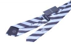 画像2: ジョルジオアルマーニ黒ラベル ネクタイ  ブロックストライプ 黒xグレー コレクションモデル (2)
