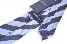 画像3: ジョルジオアルマーニ黒ラベル ネクタイ  ブロックストライプ 黒xグレー コレクションモデル (3)