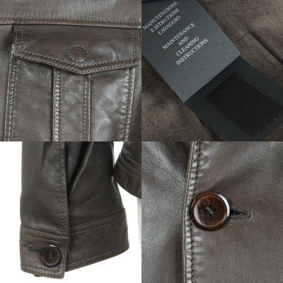 画像2: ジョルジオアルマーニ「黒ラベル」レザージャケット(54)茶色革ジャン