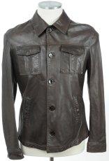 画像2: ジョルジオアルマーニ「黒ラベル」レザージャケット(54)茶色革ジャン (2)