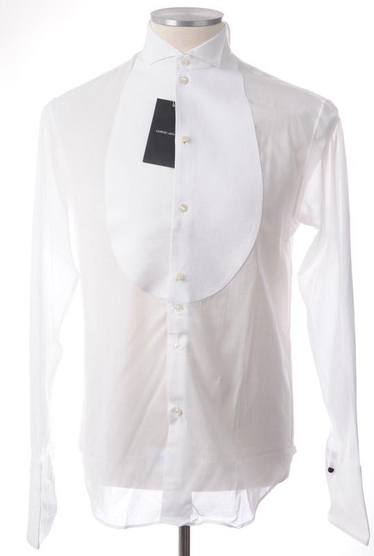 画像1: ジョルジオアルマーニ「黒ラベル」極上タキシードシャツ(38) 【国内発送】 (1)