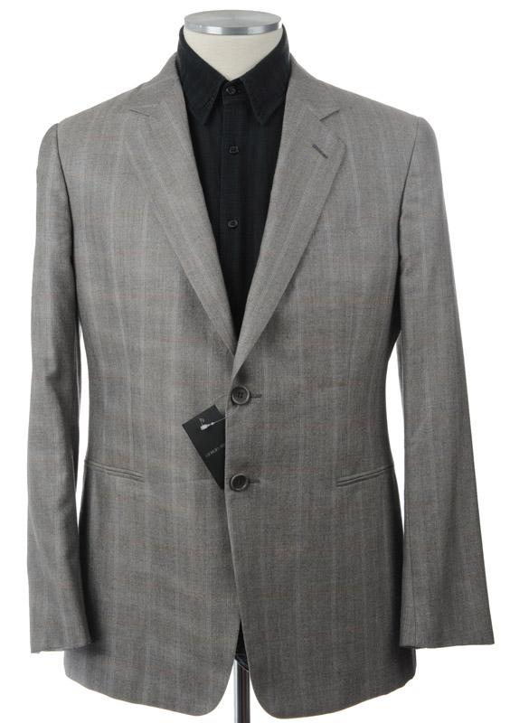 画像1: ジョルジオアルマーニ黒ラベル「カシミアxシルク混」ジャケット(54,56)A/W グレンチェック グレー 《《SALE》》 【国内発送】 (1)