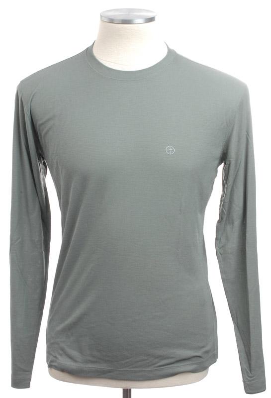 画像1: ジョルジオアルマーニ「黒ラベル」バンブーファイバー(竹繊維)ロングTシャツ(56/58) (1)