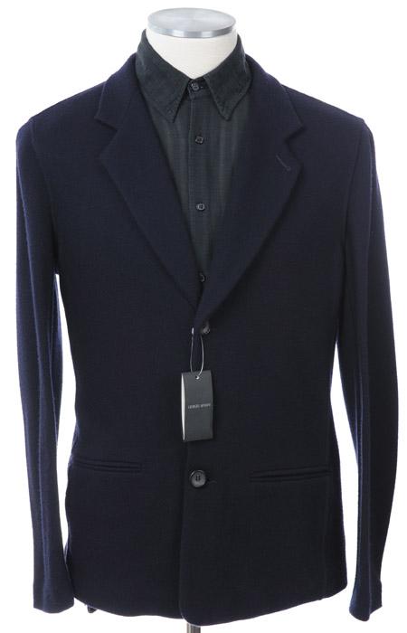 画像1: ジョルジオアルマーニ黒ラベル「カシミア混紡」紺色アンコンジャケット(54)A/W 《《SALE》》 【国内発送】 (1)