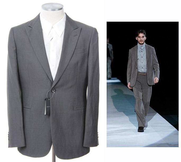 画像1: ジョルジオアルマーニ黒ラベル「オリーブ色」スーツ(54)S/S (1)