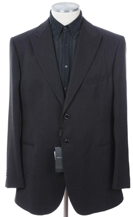 画像1: ジョルジオアルマーニ黒ラベル「珍しい紙xシルク素材」濃紺ジャケット(58)S/S 《《SALE》》 (1)