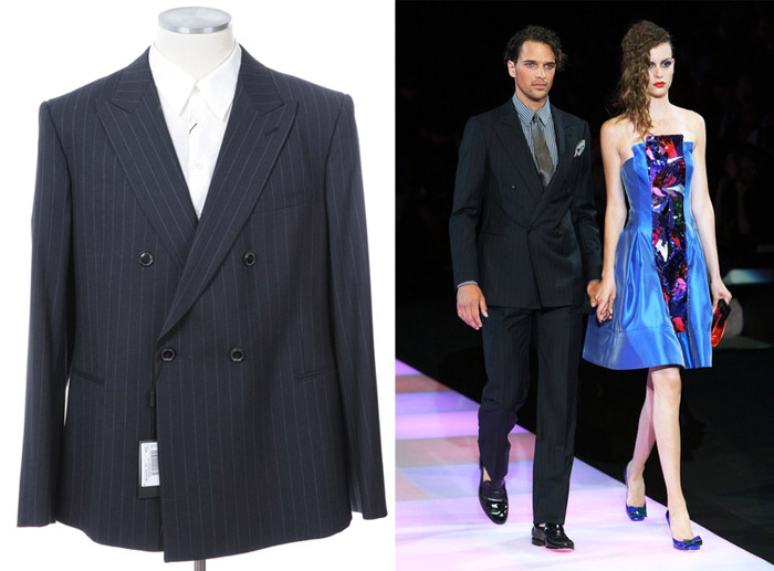 画像1: ジョルジオアルマーニ黒ラベル「ネイビーストライプ」スーツ(56/60)A/W 紺色 (1)
