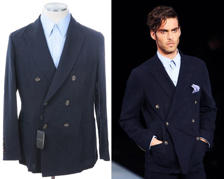 画像1: ジョルジオアルマーニ黒ラベル「麻xコットン混紡」ジャケット(56)S/S 紺色 《《SALE》》 (1)