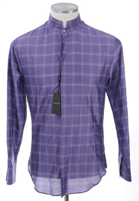 画像1: ジョルジオアルマーニ「黒ラベル」シルクxコットン混紡シャツ(41,42,43) (1)