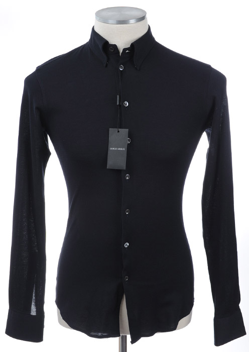 画像1: ジョルジオアルマーニ「黒ラベル」ネイビーシャツ(38) (1)