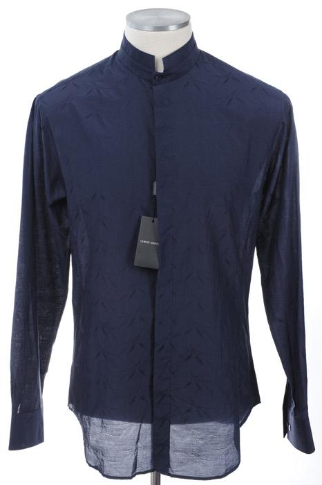 画像1: ジョルジオアルマーニ「黒ラベル」シルクxコットンシャツ(39,42,43) (1)