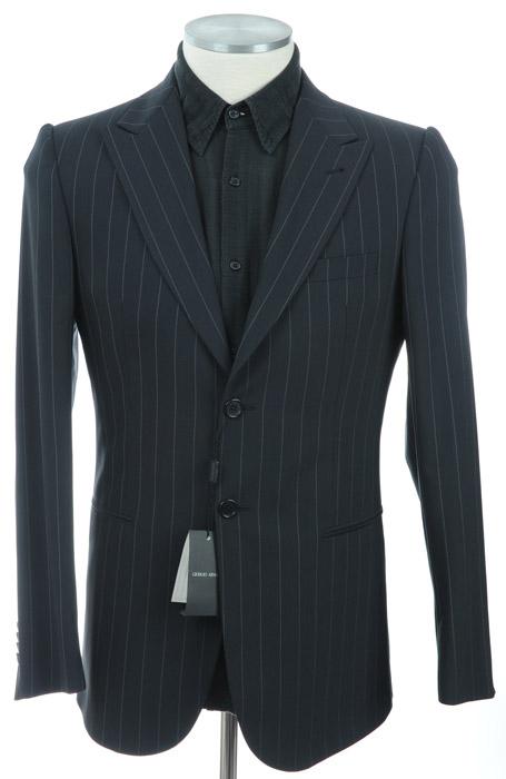 画像1: ジョルジオアルマーニ黒ラベル「ネイビーストライプジャケット」(52)A/W 《《SALE》》 【国内発送】 紺色 (1)