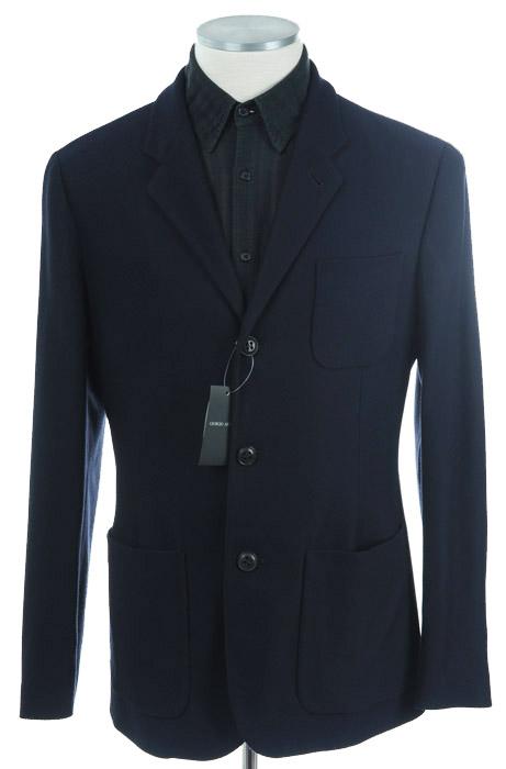 画像1: ジョルジオアルマーニ黒ラベル「ネイビー」ジャケット(52)S/S 紺色 《《SALE》》 (1)