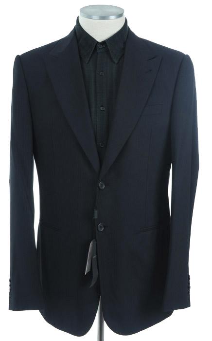 画像1: ジョルジオアルマーニ黒ラベル「ネイビーストライプ」ジャケット(52/56)S/S 紺色 (1)