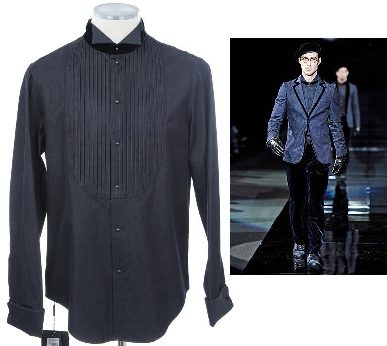 画像1: ジョルジオアルマーニ「黒ラベル」デニムxベルベットシャツ(39/40) (1)