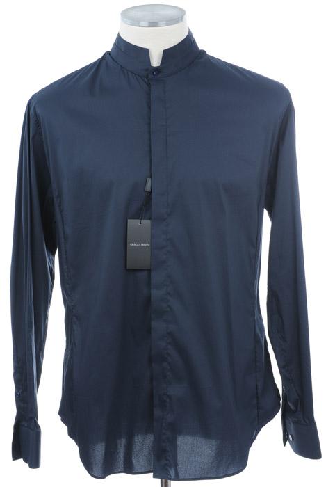 画像1: ジョルジオアルマーニ「黒ラベル」ネイビーシャツ(42/45) (1)