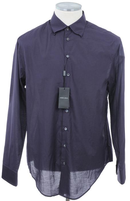 画像1: ジョルジオアルマーニ「黒ラベル」パープルシャツ(40) (1)