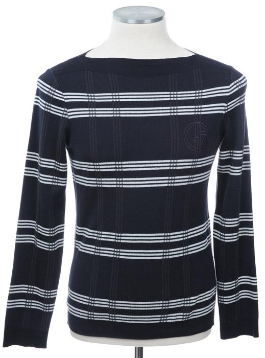 画像1: ジョルジオアルマーニ黒ラベル「デカGAロゴ」セーター(58) (1)
