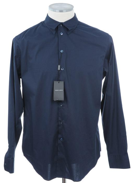 画像1: ジョルジオアルマーニ「黒ラベル」ネイビーシャツ(39) (1)