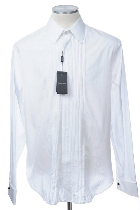 画像1: ジョルジオアルマーニ「黒ラベル」極上タキシードシャツ(38/44) (1)