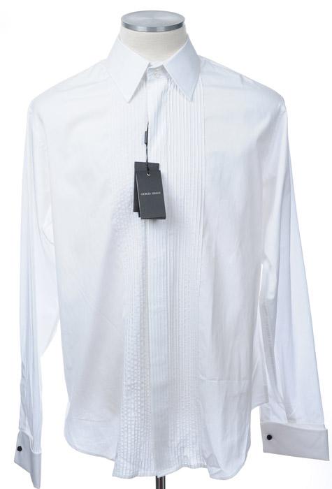 画像1: ジョルジオアルマーニ「黒ラベル」極上タキシードシャツ(45) (1)