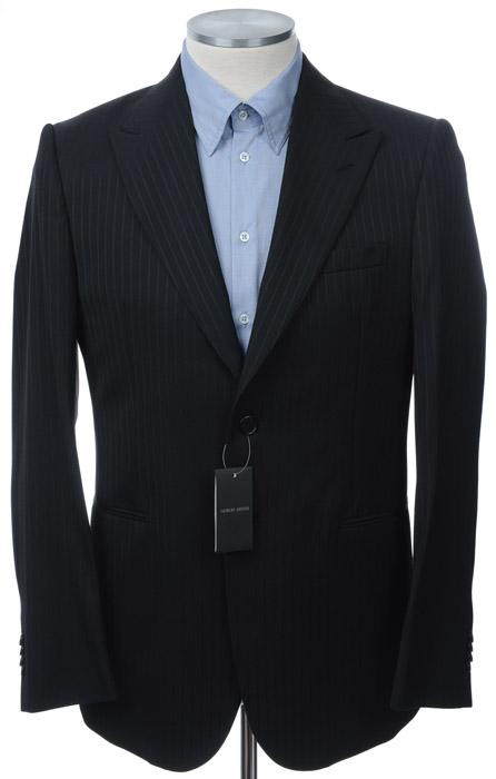 画像1: ジョルジオアルマーニ黒ラベル「紺色ストライプ」ジャケット(54/56)A/W 《《SALE》》 (1)