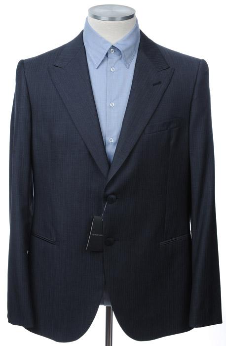 画像1: ジョルジオアルマーニ黒ラベル「ネイビーストライプ」ジャケット(56)A/W 紺色 《《SALE》》 (1)