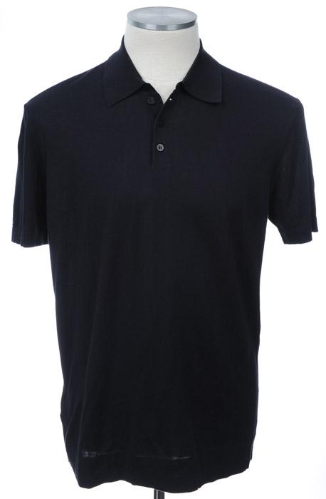 画像1: ジョルジオアルマーニ黒ラベル「ネイビー」半袖ポロシャツ(56) (1)