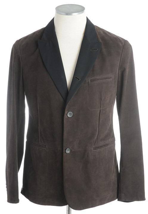 画像1: ジョルジオアルマーニ「黒ラベル」スエードレザージャケット(50) カーフ革ジャン (1)