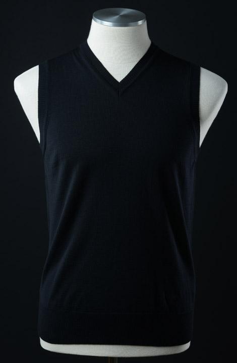 画像1: エンポリオアルマーニの黒いウールベスト(46/48/50) (1)