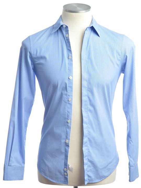 画像1: エンポリオアルマーニ 青 ストライプ シャツ(XS/36cm) 小さいサイズ 【国内発送】 (1)