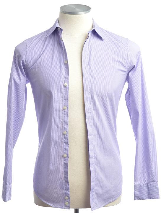 画像1: エンポリオアルマーニ 紫 ストライプ シャツ(XS/36cm) (1)