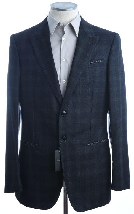 画像1: ジョルジオアルマーニ黒ラベル「ピークドラペル」グレンチェック柄スーツ(58)A/W (1)